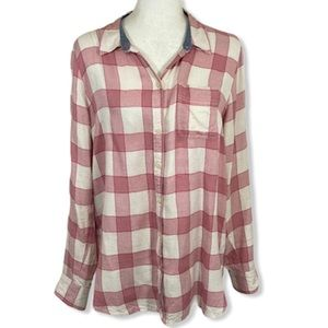 Lucky Brand soft plaid button front tunic shirt